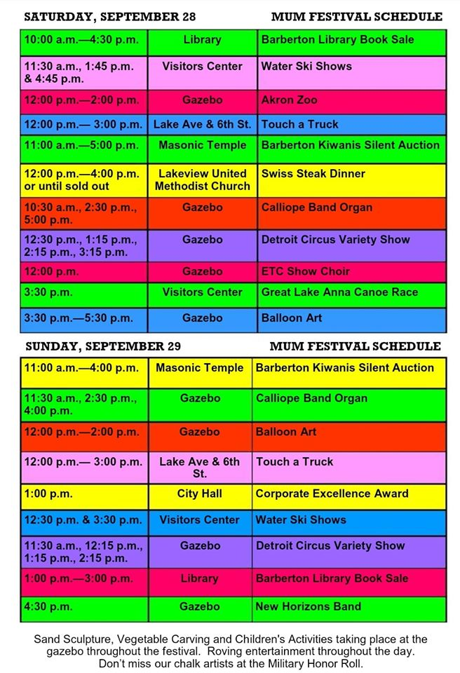 Mum Festival-Schedule of Events